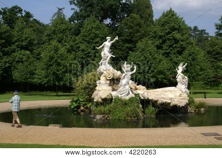 Fountain. Statues Of Angels And Women.