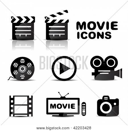Movie black glossy icon set. Vector illustration