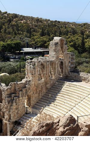 Details Of Ancient Odeon Of Herodes Atticus