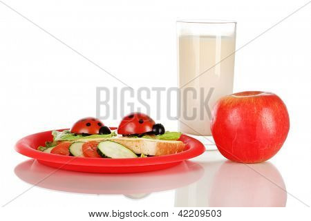 Fun food for kids isolated on white