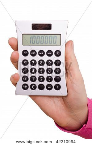 Hand Is Holding A Pocket Calculator