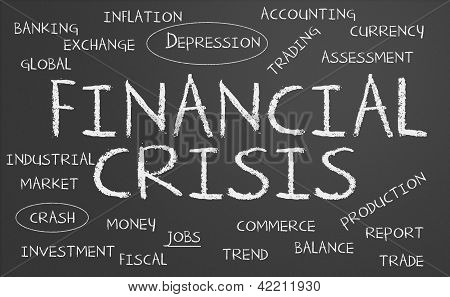 Crisis financiera palabra nube