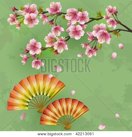 Vintage Japanese Background With Sakura And Fans