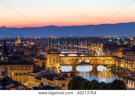 Florence Arno River and Ponte Vecchio after sunset, Italy