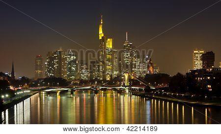 Frankfurt Skyline Panorama At Night