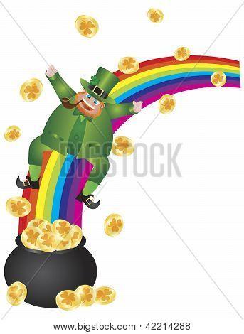 Leprechaun Sliding Down Rainbow