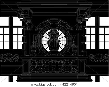 Beautiful Eclectic Facade Front View Vector