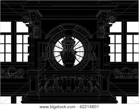 Hermosa fachada ecléctica fachada Vector