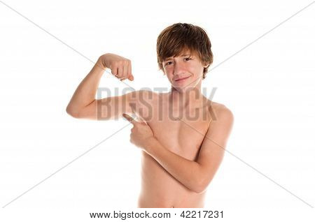 Muscle Teen Points At Bicep