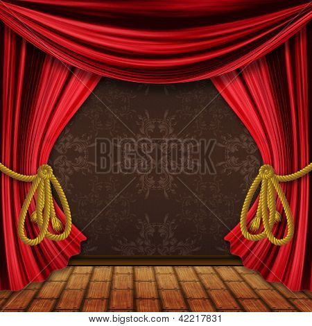 Opened Red Stage Curtains