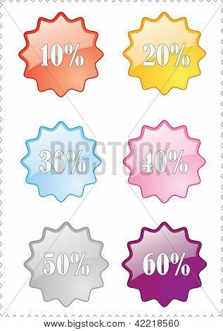 Colorful style percent off icons