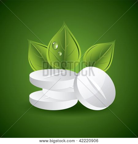 Vector Pills And Leaves
