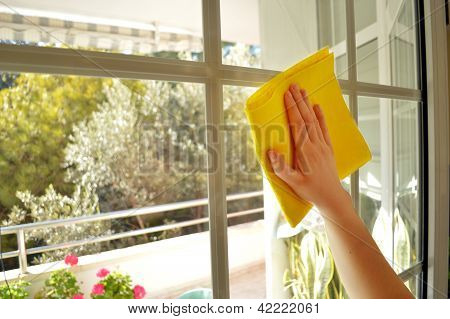 a Woman cleaning a window in sunny day