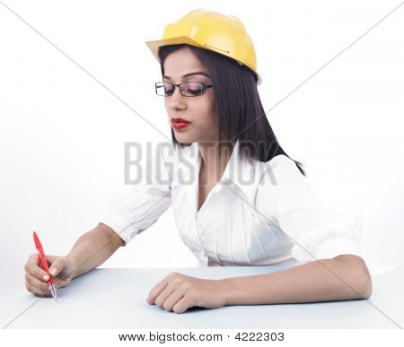 Joven Ingeniera asiático