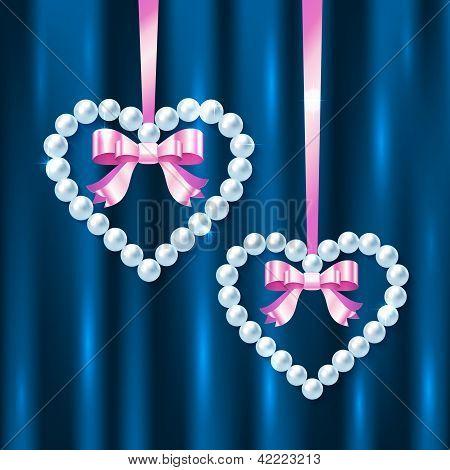 Perla corazones con lazos rosados y arcos