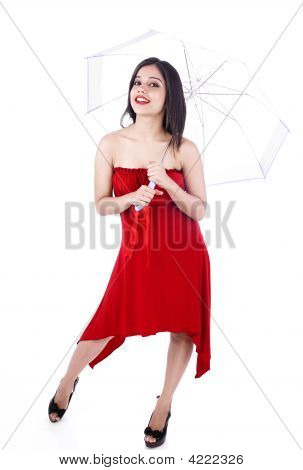 Asian Woman Of Indian Origin With An Umbrella