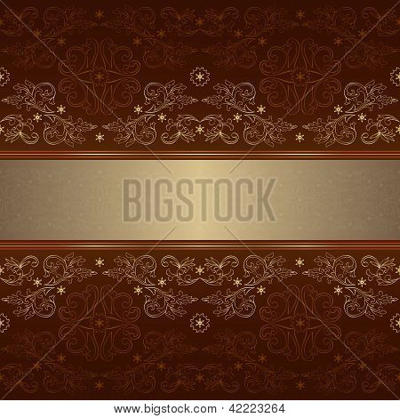 Template With Ornate Floral Seamless Pattern On A Brown Background