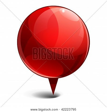 Shiny gloss red Map pointer icon. Vector illustration