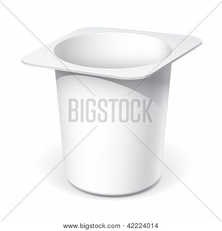White plastic container for yogurt
