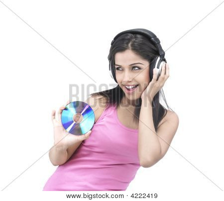 Asian Girl Enjoying Music