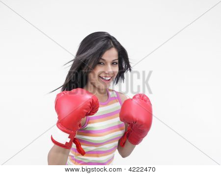 Asian Girl Of Indian Origin With Red Boxing Gloves