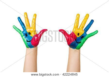 Close Up Of Colorful Child Hands