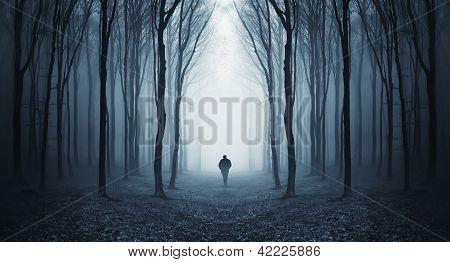 Bosque oscuro espeluznante con la silueta de un hombre que caminaba