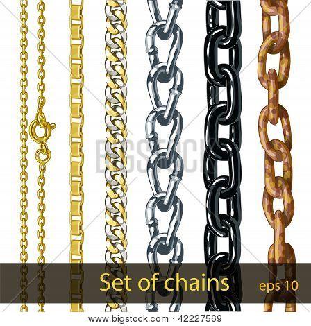Conjunto de cadenas. Hierro oxidado, metal oro, plateado, acero, pintado