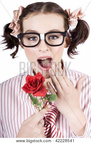 Shocked Romantic Nerdy Girl Holding Red Rose