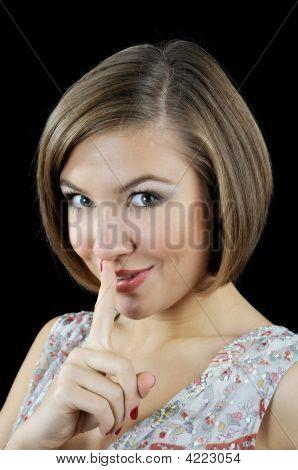 Portrait Of Beautiful Girl Show Sh-h