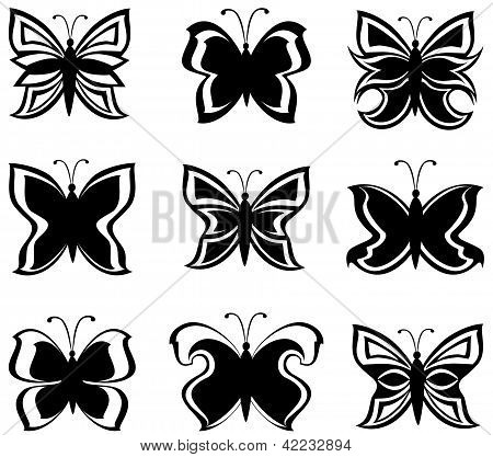 Vector Illustration Of A Collection Black And White Butterflies  Isolated On White