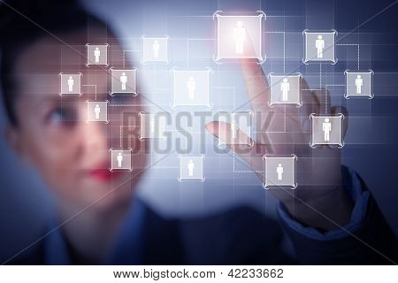 Image of female touching icon of social network