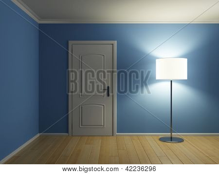 Empty modern interior room with door and lamp