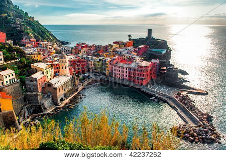 Aerial View Of Vernazza - Small Italian Town In The Province Of La Spezia, Liguria, Northwestern Ita