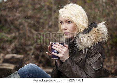 Blonde Woman With Beautiful Blue Eyes