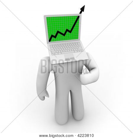 Growth Arrow On Laptop Figure