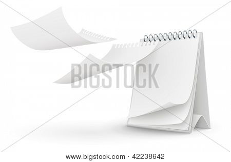 calendar template with blank pages isolated on the white background. EPS10 Vector Illustration.