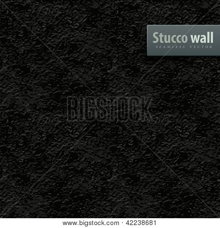 seamless texture of black stucco wall vector illustration EPS10. Transparent objects used for shadows and lights drawing. Vector Illustration.