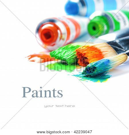 Colorful Paints And Artist Brushes