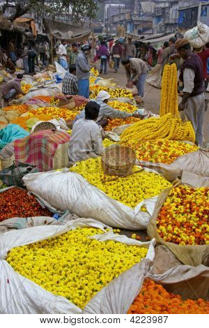 Colorful Indian Flower Market