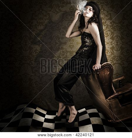 Fine Art Grunge Fashion Portrait In Dark Interior