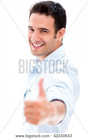Happy man with thumbs up - isolated over a white background