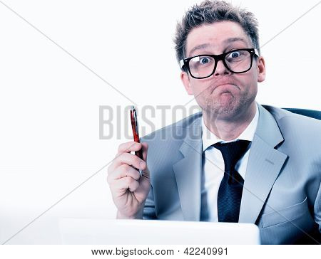 Crazy And Funny Manager Stressed At Work