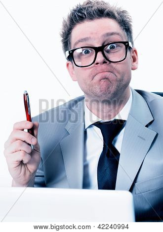Portrait Of Crazy And Funny Manager Stressed At Work