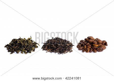 Green, Black Tea And Caffee