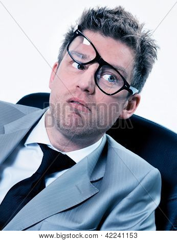 Portrait Of Funny Manager Stressed At Work