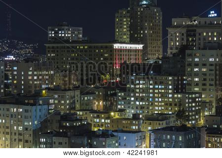 SAN FRANCISCO, CALIFORNIA - JAN 13: View of Nob Hill tourist area. San Francisco's 80% hotel occupancy has pushed average room rates above $155 per night on Jan 13, 2013 in San Francisco, Ca.