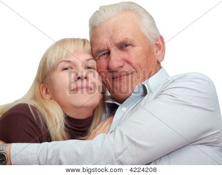 Senior Father With His Daughter Look In Camera And Smile