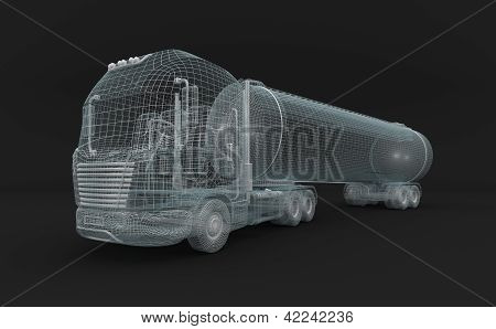 Semitransparent fuel tanket truck.