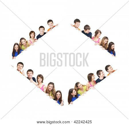 Group of teenagers with a giant, blank, white billboard - set, made of different images